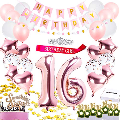 Sweet 16 Party Supplies Set | Rose Gold Happy Birthday Party Decorations | 16th Birthday Party Supplies Crown Tiara Sash Banner Cake Topper Balloons 16th table Confetti Sweet 16 Gifts for Girls