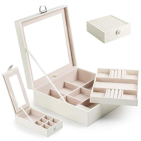 Caja Joyero con Espejo Caja para joyas joyero caja de joyas organizador de joyas 2 Niveles, Estuche de Joyas con Cerradura, con Espejo Abatible,Caja ...