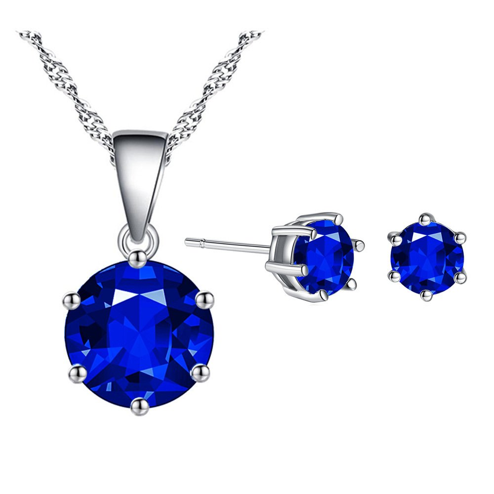 18K Gold Plated Multicolor Round Cut CZ Necklace+Stud Earring Set Ltd Zhang Trading Co