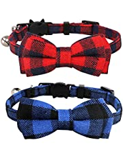 """Imikoko Pet Pack of 2 Cat Collars,Adjustable Breakaway Cat Collar Designed with Check Pattern Bowtie and Sliver Bell,Bowknot Cute Necklace for Small Dogs and Cats Neck 7.8""""-10.2"""""""