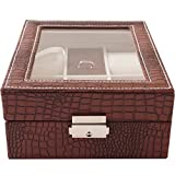 Leather Watch Box 4 Slots Watch Jewelry Display Storage Boxes With Glass Top And Removal Storage Pillows With Lockable Keys,Brown