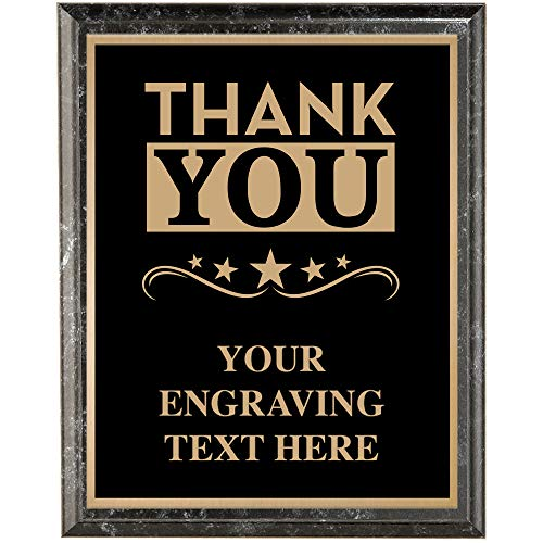 Crown Awards Corporate Employee Recognition Plaques - 8 x 10 Thank You Classic Black Etched Recognition Trophy Plaque Award Prime