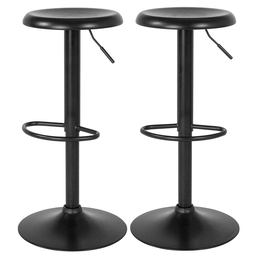 Contemporary Classic Design Metal Dining Round Backless Bar Stools Adjustable Height Swivel Seat Lounge Restaurant Diner Commercial Home Office Furniture - Set of 2 Black #2205