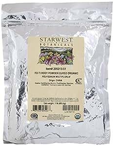 Starwest Botanicals Organic Cured Fo-Ti Root Powder, 1 Pound
