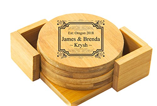 (Personalized Coaster | Custom Engraved Coaster Set - BAMBOO ROUND COASTER SET)
