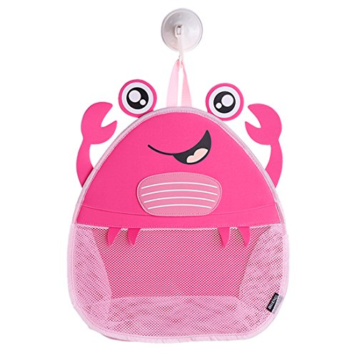 Ava & Kings Baby Bath Toy Organizer Mesh - Hanging Bathroom Basket Bath Toys Storage Bin for Children - Colorful Fun, Safe & Mold-Resistent, Easy-to-Use Large - Red Happy Crab