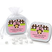 Custom Monkey Girl - Personalized Baby Shower or Birthday Party Favors Mint Tins - Set of 12