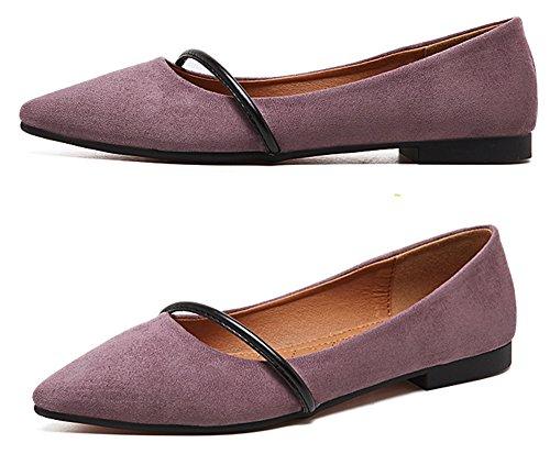 Qzunique Womens Toe Slip On Scarpa Da Balletto Comfort In Pelle Scamosciata Multicolore Piatta Viola