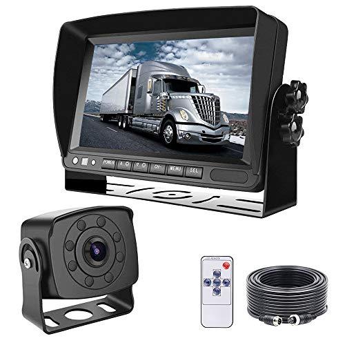 Lcd Backup (Backup Camera with Monitor, LASTBUS Wide View Night Vision HD Rear View Backup Camera + 7'' LCD Reversing Monitor for Truck, Trailer, Bus, Camper, RV, Van)