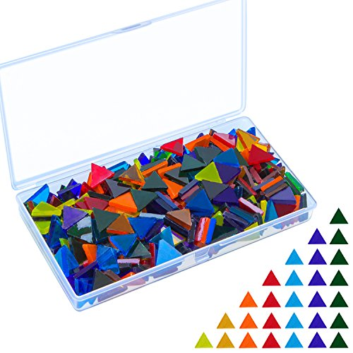 Triangle Mosaic Tiles Mosaic Glass Pieces with Storage Box, Translucent Assorted Colors (Orange Stained Glass Mosaic Tile)