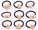 Lovef 9 Pcs Beautiful Full Pearl with Crystal Rhinstone Flower Bow Fish Butterfly Design for Baby Kids Girl Women Hair Accessories Elastic Tie Ponytail Holders Princess Hair Rope Rubber Bands(9Pcs)