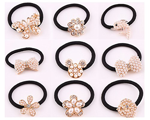 Lovef 9 Pcs Beautiful Full Pearl with Crystal Rhinstone Flower Bow Fish Butterfly Design for Baby Kids Girl Women Hair Accessories Elastic Tie Ponytail Holders Princess Hair Rope Rubber Bands(9Pcs) by Lovef Jewelry