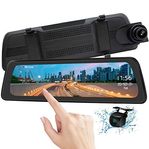 "Mirror Dash Cam Backup Camera 9.88"" Full HD Touch Screen Car Dash Camera Stream Media Dual Lens 170° 1080P Front and 150°1080P Rear View Camera with G-Sensor PORMIDO,24 Hour Parking,GPS"