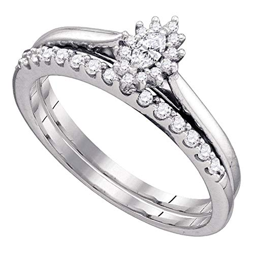 (0.25 Carat (ctw)10K Marquise Diamond Solitaire Wedding Bridal Ring Set 1/4 CT, White Gold, Size 7.5)