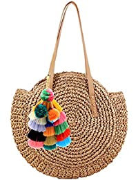 Women Round Straw Pompom Shoulder Bag Corn Summer Woven Bags