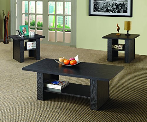 Coaster Contemporary Black Oak Three Piece Occasional Table Set