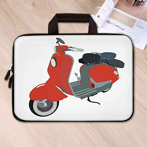 - 1960s Decorations Anti Seismic Neoprene Laptop Bag,Motor Scooter Doodle in Nice Sixties Style Driving Motorcycle Urban Cartoon Clipart Decorative for Travel Office School,15.4''L x 11''W x 0.8''H