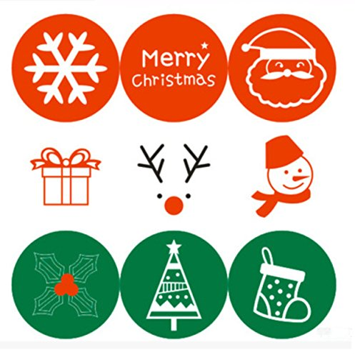 Efivs Arts 180pcs Cute Christmas Decorative Adhesive Label Personalized Decorative Sealing Stickers For Christmas Party Gift (Christmas Envelope Labels)