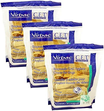 Virbac Dental Chews CET605-3 30 Count Oral Chews 3 Pack , Large