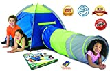 Adventure Play Tent with Tunnel and Bonus Flashlight by Toy Target   Tent for Kids with 6-foot Tunnel   Easy to Set Up, Lightweight, Compresses Flat for Easy Storage