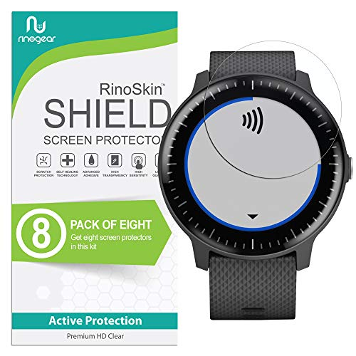 (8-Pack) RinoGear for Garmin Vivoactive 3 Music Screen Protector Case Friendly Screen Protector for Garmin Vivoactive 3 Music Accessory Clear Film