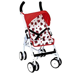 ColorBaby - Sillita de paseo con capota, color rojo con mariquitas (43115)