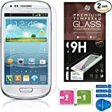 Samsung Galaxy S3 Mini Screen Protectors [Set of 2] - Ballistic Tempered Glass - Maximum Impact Protection - 99.9% Crystal Clear HD Glass - No Bubbles - Cell Phone DIY® Premium Protector Kit