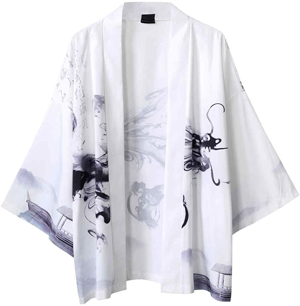 Men's Summer Kimono Japanese Casual Style Cloak Blouse Five Point Sleeves Top