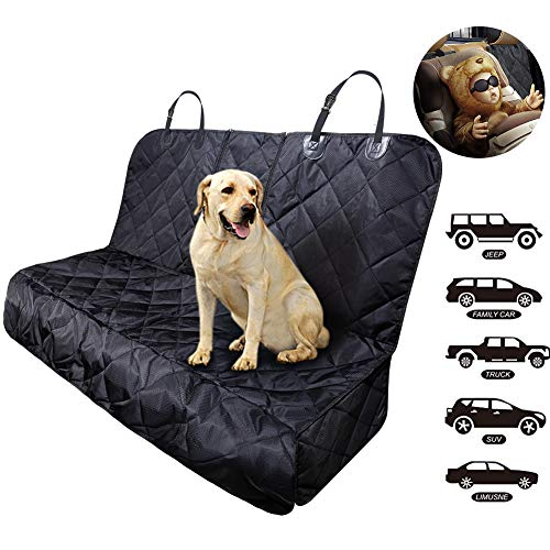 Fityou Dog Car Seat Covers, Waterproof Pet Seat Cover Hammock 600D Oxford Fabric Scratch Proof & Non Slip Bench Seat Cover Compatible for Middle Seat Belt and Armrest Fits Most Cars, Trucks, SUVs