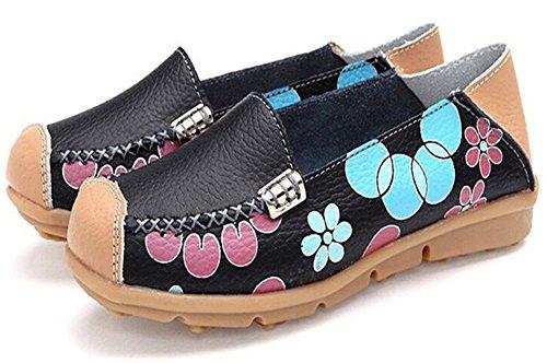 Summerwhisper Comfortabele Damesshirt Met Capuchon Voor Dames Slip-on Rijdende Bootschoenen Antislip Leren Instappers Zwart