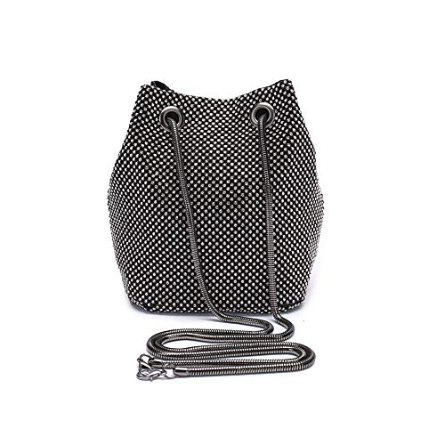 Peng Fang Evening Bags Clutches Shoulder Bucket Bag for Women Crystal Rhinestone Small Handbag Party Prom Wedding Purse(black)