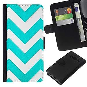 EJOY---La carpeta del tirón la caja de cuero de alta calidad de la PU Caso protector / Samsung Galaxy Core Prime / --Teal Pattern White Stripes