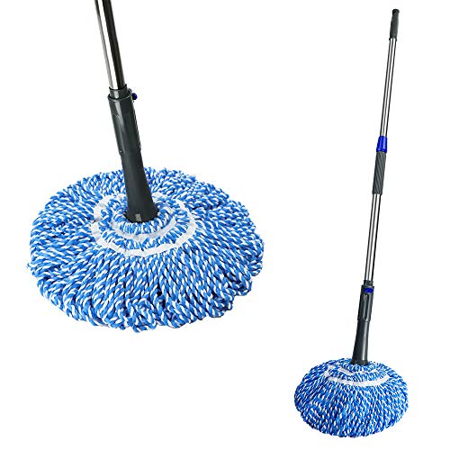Self- Wringing Twist Mop with Stainless Steel Handle Retractable Hands for House Floors (Twist Mop Rubbermaid)