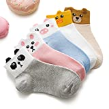 Cute Cartoon Baby Girls Boys Ankle Socks Summer Thin Breathable Toddler Low Cut Socks 5 pairs (SA M(3t-5t))