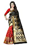 New indian/pakistani Ethnic Designer Multi Color Banarasi Silk Party Wedding Saree 750 (Black & red)