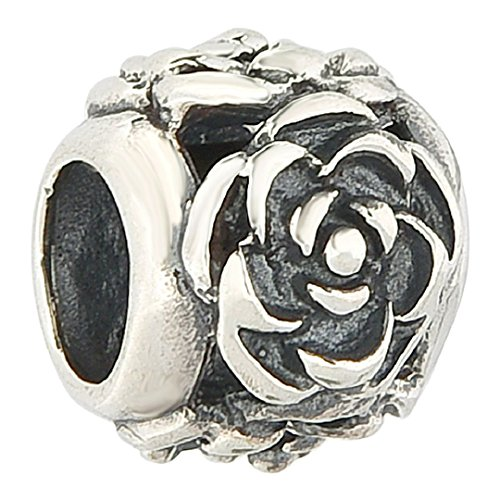 Authentic 925 Sterling Silver Blooming Rose Flower Solid Floral Bead Fits European Charms