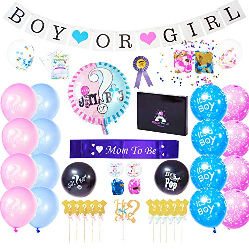 MomNDad2B Designs Gender Reveal Party Supplies | 106 pcs Baby Shower Decorations Kit Set Ideas Accessories Box, Reveal Balloon with Blue Pink Confetti, Boy or Girl Banner Balloons Gold Cake Cupcake toppers Buttons Pins Invitation Cards Envelopes Idea