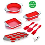 Silicone Baking Molds, Pans and Utensils (Set of 13) by Boxiki Kitchen | Silicone Cake Pan, Brownie Pan, Loaf Pan… 8 8-IN-1 CONVENIENCE – Ultimate kitchen versatility, bake your favorite treats with this 13-piece professional grade silicone baking mold set: round cake pan, square brownie pan, banana bread/meatloaf pan, muffin tin, 3 utensils and 6 measuring spoons. SAFE NON-STICK SILICONE BAKEWARE – Textured surface for ultimate easy-release performance; BPA-free and non-toxic; safe for use in oven, freezer; dishwasher safe. KEEPS PERFECT SHAPE – Even after hundreds of uses, thanks to durable high quality steel frame; resists bending, warping and sagging, provides maximum service life; stain and odor resistant.