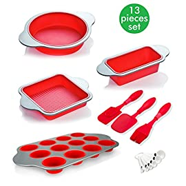 Silicone baking molds, pans and utensils (set of 13) by boxiki kitchen | silicone cake pan, brownie pan, loaf pan, muffin mold, 2 spatulas, brush and 6 measuring spoons 1 8-in-1 convenience – ultimate kitchen versatility, bake your favorite treats with this 13-piece professional grade silicone baking mold set: round cake pan, square brownie pan, banana bread/meatloaf pan, muffin tin, 3 utensils and 6 measuring spoons. Safe non-stick silicone bakeware – textured surface for ultimate easy-release performance; bpa-free and non-toxic; safe for use in oven, freezer; dishwasher safe. Keeps perfect shape – even after hundreds of uses, thanks to durable high quality steel frame; resists bending, warping and sagging, provides maximum service life; stain and odor resistant.