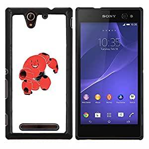 Jordan Colourful Shop - CUTE RED BLOOD MONSTER ROBOT CELL For Sony Xperia C3 D2533 - < Personalizado negro cubierta de la caja de pl????stico > -