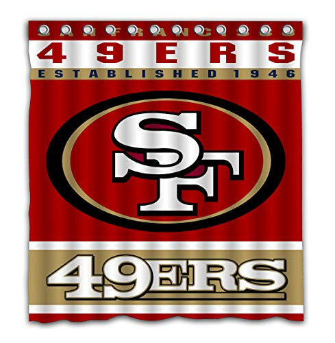 Francisco Shower Curtain 49ers San - Potteroy San Francisco 49ers Team Design Shower Curtain Waterproof Polyester Fabric 66x72 Inches