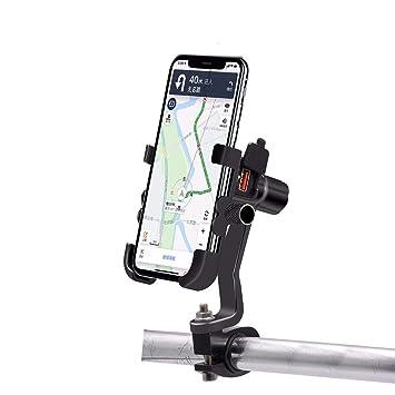 Motorcycle MTB Adjustable Handlebar Mount Mobile Phone Holder 12V 2A USB Charger