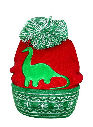 Bio World Merch Ugly Stuff Christmas Knitted Beanie With Led Lights  One Size  Dinosaur