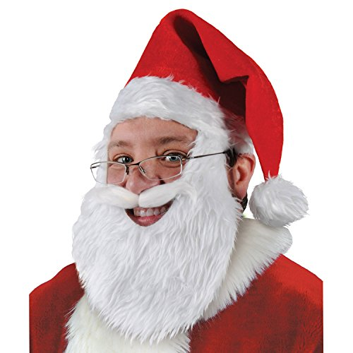 (Plush Santa Hat w/Beard & Moustache Party Accessory (1 count))