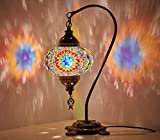 (18 Variations) Newest CopperBull 2018 Turkish Moroccan Tiffany Style Handmade Mosaic Table Desk Bedside Night Swan Neck Lamp Light Lampshade, 42cm (16) For Sale