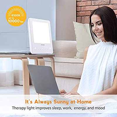 Light Therapy Lamp, Miroco LED Bright White Therapy Light - UV Free 10000 Lux Brightness, Timer Function, Touch Control, Standing Bracket, for Home/Office Use