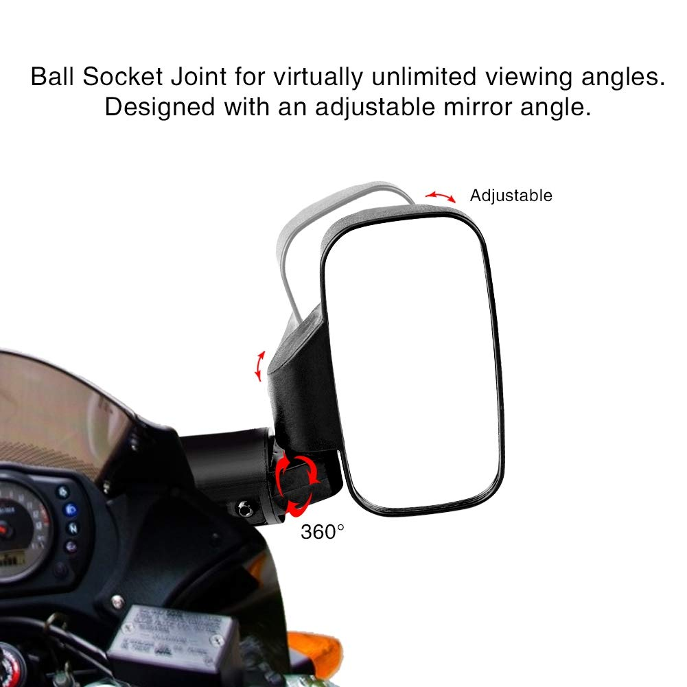 Terisass Motorcycle Rear View Mirror 1 Pair Blind Spot Mirror Motorbike Bar End Side Mirrors Multi Angle Adjustable Anti-Glare Convex Mirrors with Install Accessories for Polaris Ranger RZR Yamaha