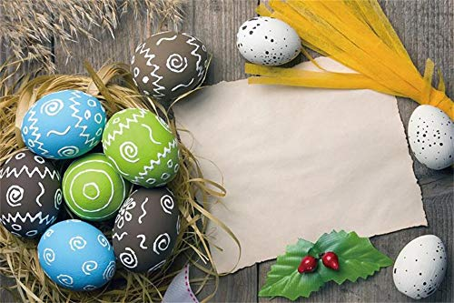 - Baocicco 9x6ft Happy Easter Backdrop Colorful Painted Easter Eggs Nest White Paper Dark Shabby Rustic Shabby Wood Plank Fence Background Holiday Festival Children Adults Portrait Props