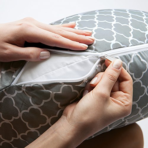 Boppy Pregnancy Support Pillow with Jersey Slipcover, Petite Trellis, Gray by Boppy (Image #1)