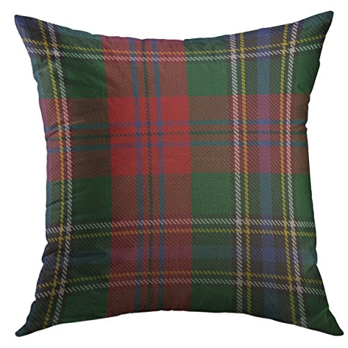Mugod Pillow Cases Green Accent Clan Maclean Tartan Plaid Red Scottish Throw Pillow Cover for Men Women Boys Cushion Cover 20x20 -